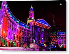 Denver City And County Building Holiday Lights Acrylic Print
