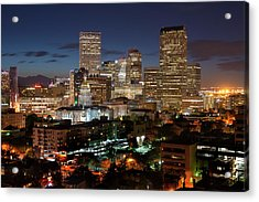 Denver Evening Skyline Acrylic Print by Steve Mohlenkamp