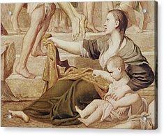 Detail Of Saint Cecilia Distributing Alms Acrylic Print by Domenichino