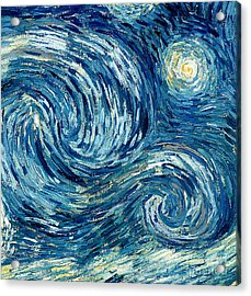 Detail Of The Starry Night Acrylic Print by Vincent Van Gogh