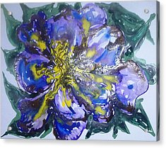 Digital Flower Painting Acrylic Print by Baljit Chadha