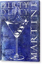 Dirty Dirty Martini Patent Blue Acrylic Print