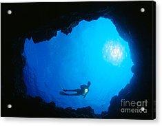 Diver At Cavern Entrance Acrylic Print