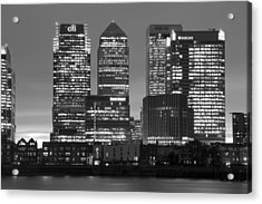 Docklands Canary Wharf Sunset Bw Acrylic Print by David French