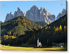 Dolomites Mountain Church Acrylic Print