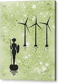 Don Quixote Vs The Windmills Acrylic Print