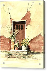 Door With Pots Acrylic Print by Sam Sidders