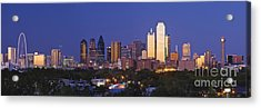 Downtown Dallas Skyline At Dusk Acrylic Print by Jeremy Woodhouse