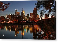 Downtown Minneapolis At Night Acrylic Print