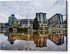 Downtown Of Greenville South Carolina Around Falls Park Acrylic Print by Alex Grichenko