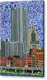 Downtown Pittsburgh - View From Smithfield Street Bridge Acrylic Print by Micah Mullen