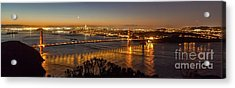 Downtown San Francisco And Golden Gate Bridge Just Before Sunris Acrylic Print