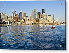 Downtown Seattle Sailing Acrylic Print by Tom Dowd