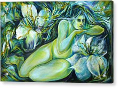 Acrylic Print featuring the painting Dreaming Flower by Anna  Duyunova