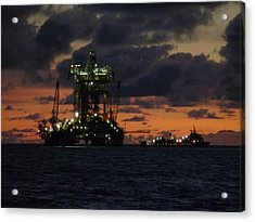 Acrylic Print featuring the photograph Drill Rig At Dusk by Charles and Melisa Morrison