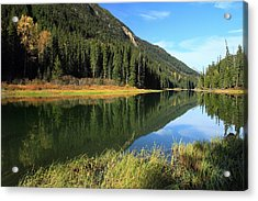 Duffey Lake Reflection In Autumn Acrylic Print by Pierre Leclerc Photography
