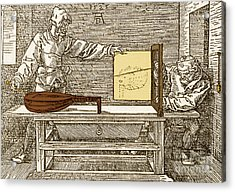 Durers Perspective Drawing Of A Lute Acrylic Print by Science Source