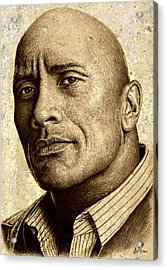 Dwayne The Rock Johnson Acrylic Print by Andrew Read