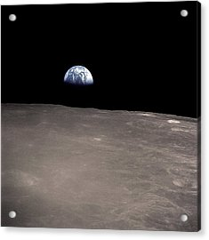 Earth Rising Above The Moons Horizon Acrylic Print by Stocktrek Images