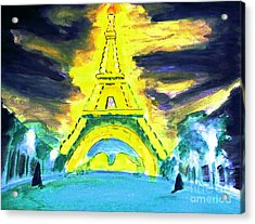 Eiffel Tower Night Optical Illusion Acrylic Print
