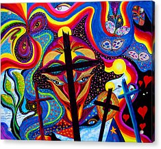Acrylic Print featuring the painting Crosses To Bear by Marina Petro