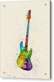 Electric Bass Guitar Abstract Watercolor Acrylic Print by Michael Tompsett