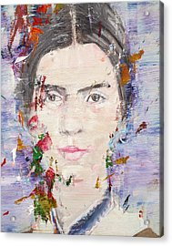 Acrylic Print featuring the painting Emily Dickinson - Oil Portrait by Fabrizio Cassetta