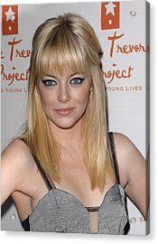 Emma Stone At Arrivals For Trevor Live Acrylic Print by Everett