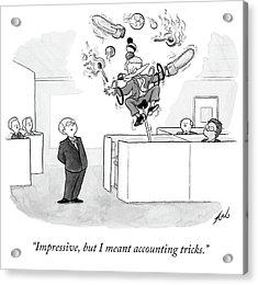 Employee Shows Boss Circus Tricks. Acrylic Print