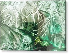 Encaustic Abstract Green Foliage Acrylic Print