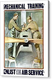 Mechanical Training - Enlist In The Air Service Acrylic Print by War Is Hell Store