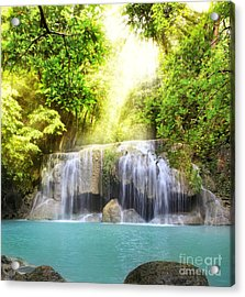Erawan Waterfall Acrylic Print by Anek Suwannaphoom