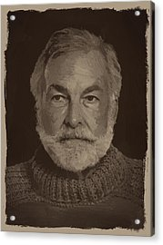 Ernest Hemingway Acrylic Print by Afterdarkness
