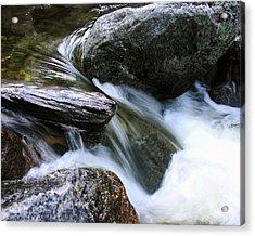 Etruded Log-end In Merced River Acrylic Print by D Kadah Tanaka