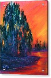 Eucalyptus Sunset Acrylic Print by Sally Seago