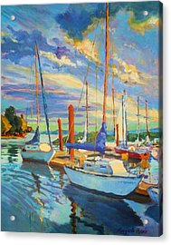 Evening At The Marina Acrylic Print by Margaret  Plumb