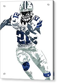 Ezekiel Elliott Dallas Cowboys Pixel Art 6 Acrylic Print by Joe Hamilton