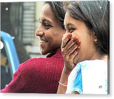 Faces Of India - Happy Couple Acrylic Print by Steve Rudolph