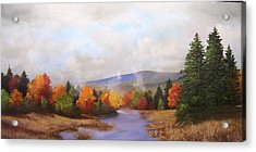 Fall Pond Scene Acrylic Print by Ken Ahlering