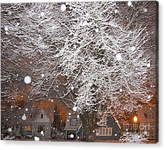 Falling Snow In A Neighborhood Acrylic Print by David Buffington