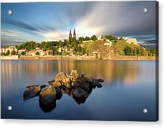 Famous Vysehrad Church During Sunny Day. Amazing Cloudy Sky In Motion. Vltava River, Prague, Czech Republic Acrylic Print