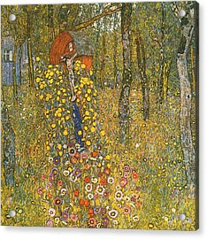 Farm Garden With Crucifix Acrylic Print by Gustav Klimt
