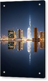 Fascinating Reflection Of Tallest Skyscrapers In Business Bay District During Calm Night. Dubai, United Arab Emirates. Acrylic Print