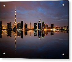 Fascinating Reflection Of Tallest Skyscrapers In Bussiness Bay D Acrylic Print