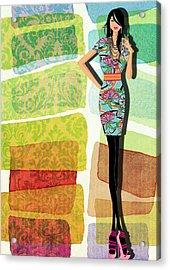 Fashion Illustration Acrylic Print by Ramneek Narang