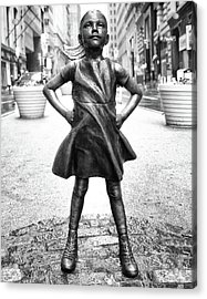 Acrylic Print featuring the photograph Fearless Girl Bnw by Rand