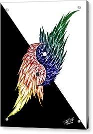 Feathered Ying Yang  Acrylic Print by Peter Piatt