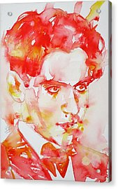 Acrylic Print featuring the painting Federico Garcia Lorca - Watercolor Portrait by Fabrizio Cassetta