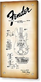 Fender Bass Electric Guitar Patent 1961 Acrylic Print by Daniel Hagerman