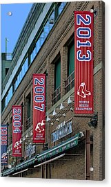 Fenway Boston Red Sox Champions Banners Acrylic Print by Susan Candelario